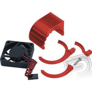 HARDCORE motorový chladič s větráčkem 40x40mm - červený